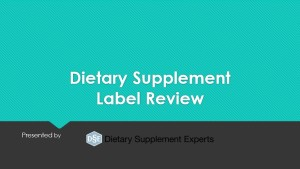 Dietary Supplement Label Training